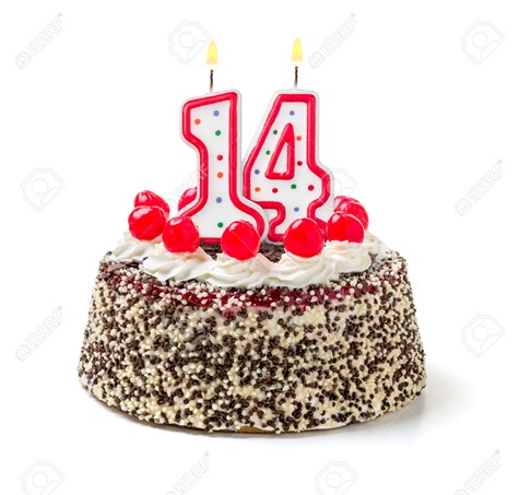 32590237-Birthday-cake-with-burning-candle-number-14-Stock-Photo